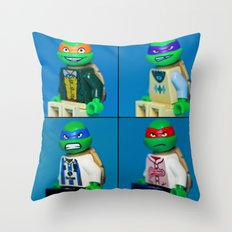 Dorky Teenage Yearbook Turtles Throw Pillow