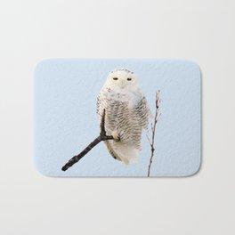 Snowy in the Wind (Snowy Owl) Bath Mat