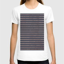Elegant Chic Rose Gold Stripes and Navy Blue T-shirt