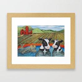Cows in a Hot Tub Framed Art Print