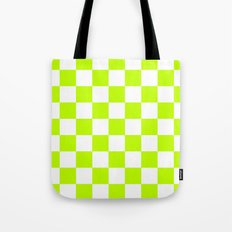Checker (Lime/White) Tote Bag