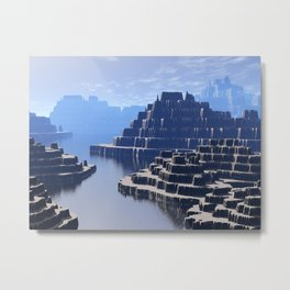 Mysterious Terraced Mountains Metal Print