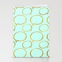 gold foil Stationery Cards featuring Mint Gold Foil 01 by Aloke Design