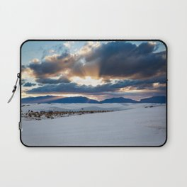One More Moment - Sunbeams Burst From Clouds Over White Sands New Mexico Laptop Sleeve