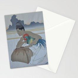 1950 Paul Jacoulet Japanese Woodblock Print Le Deux Adversaires Droite Stationery Cards