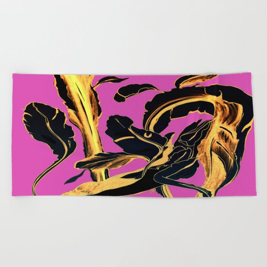 Golden Succulent on Fuchsia Beach Towel