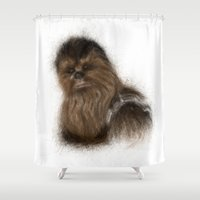 chewbacca Shower Curtains featuring Chewbacca by KitschyPopShop