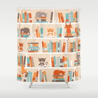 library Shower Curtains featuring Library cats by Heleen van Buul