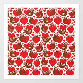 pattern Three-toed sloth holding red heart, on white background. Valentine's Day Card. Funny Kawaii Art Print