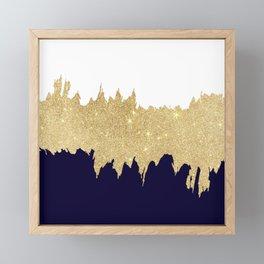 Modern navy blue white faux gold glitter brushstrokes Framed Mini Art Print