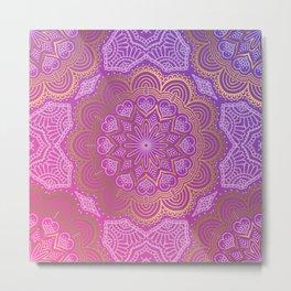 Abstract Purple Mandala Design Metal Print