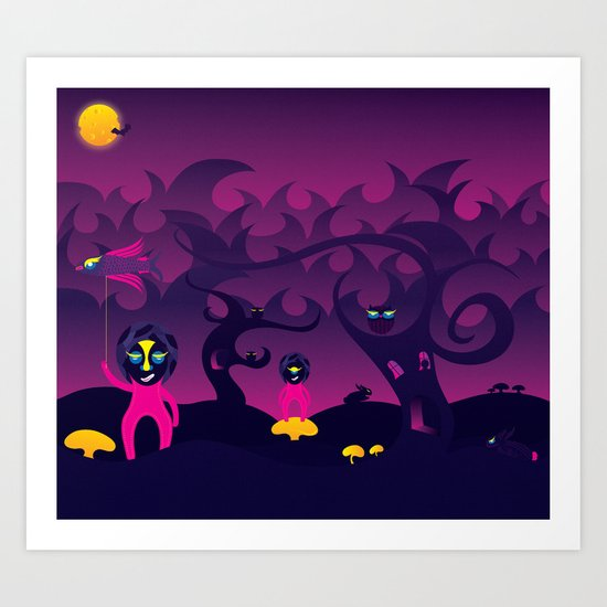 Night of the forest spirit Art Print