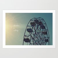coasters Art Prints featuring Adventure is Waiting by RDelean
