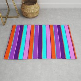 Vibrant Dark Orchid, Aqua, Red, Indigo & Violet Colored Stripes Pattern Rug