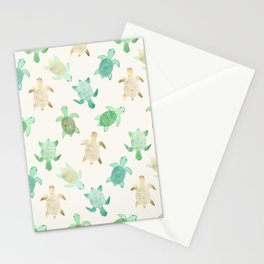 Gilded Jade & Mint Turtles Stationery Cards