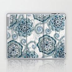 Navy Blue Floral Doodles on Wood Laptop & iPad Skin