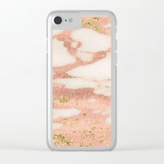 Marble - Rose Gold Shimmer Marble with Yellow Gold Glitter Clear iPhone Case