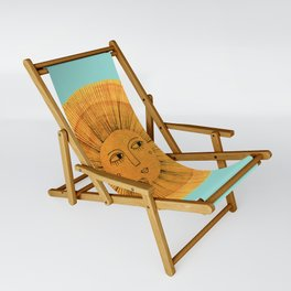 Sun Drawing Gold and Blue Sling Chair