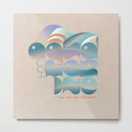 Aquamarine lettering Metal Print