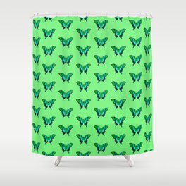 Swallowtail Butterfly in Green, Turquoise & Black Shower Curtain
