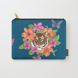 Floral Tiger and Butterfly Portrait on Blue Carry-All Pouch