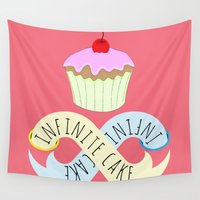 cake Wall Tapestries featuring Infinite cake by Emma Harckham