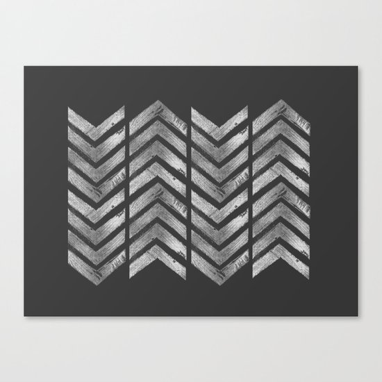 STAMPS SERIES N3 HERRINGBONE BLACK Canvas Print
