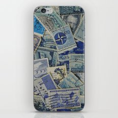 Vintage Postage Stamp Collection - Blue iPhone & iPod Skin