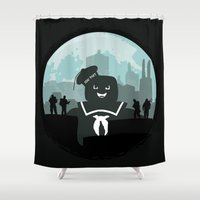 ghostbusters Shower Curtains featuring Ghostbusters versus the Stay Puft Marshmallow Man by kamonkey