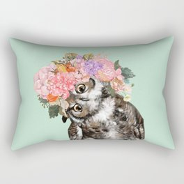 Owl with Flowers Crown in Green Rectangular Pillow