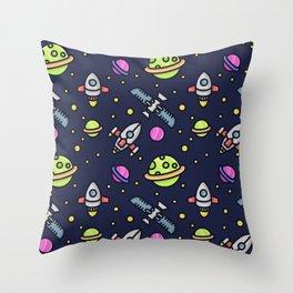 Starships Satellites Planets Throw Pillow