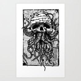 octopus black Art Print