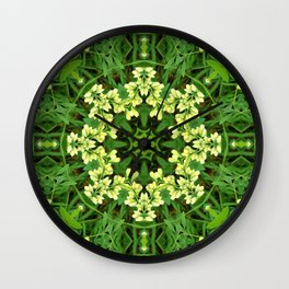Cream and green botanical mandala - Baptisia flowers 1 Wall Clock