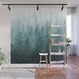 My Misty Secret Forest - turquoise green Wall Mural