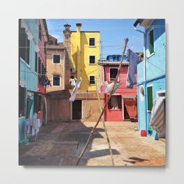 Laundry Day In Burano. Metal Print