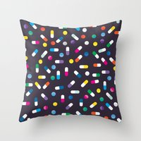 pills Throw Pillows featuring Pills by Alisha Jensen