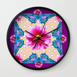 BLUE BUTTERFLIES FUCHSIA DAHLIA FLOWERS ABSTRACT Wall Clock