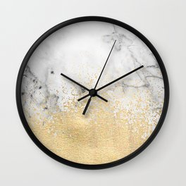 Gold Dust on Marble Wall Clock