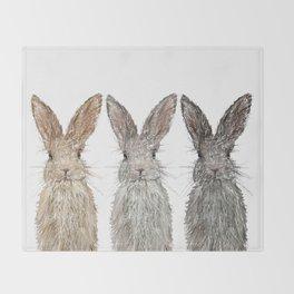 Triple Bunnies Throw Blanket
