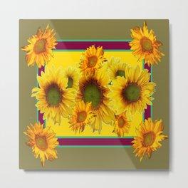 Olive Green Sunflowers Pattern Burgundy Color Floral Art Metal Print