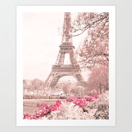 Paris Nursery, White, Eiffel Tower Art Print