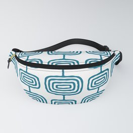 Mid Century Modern Atomic Rings Pattern Peacock Blue 3 Fanny Pack