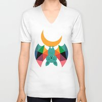 child V-neck T-shirts featuring Moon Child by Andy Westface
