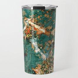 Macelas - Small flowers digitally stylized green marble Travel Mug
