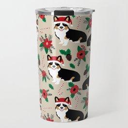 Tricorgi Christmas Floral print - tri corgi blanket, tricolored corgi, corgi gift, corgi lover, cute Travel Mug