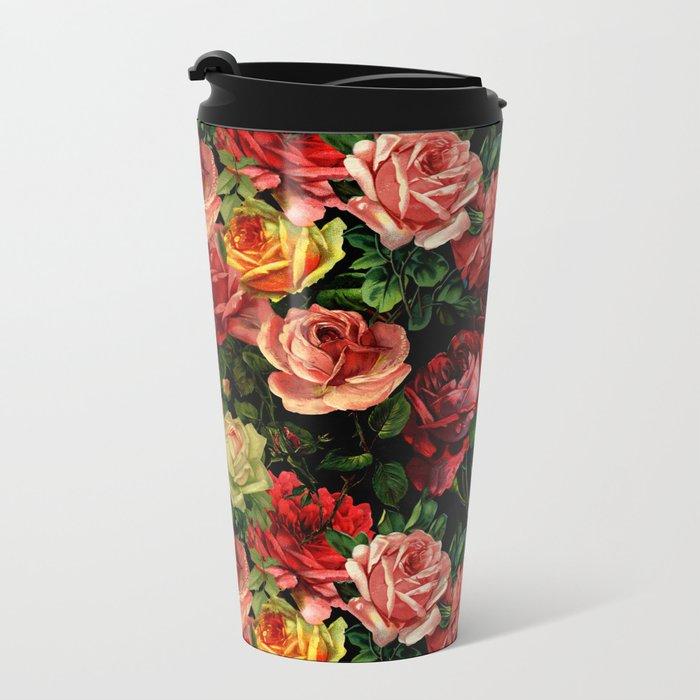 Vintage & Shabby-chic - floral roses flowers rose Metal Travel Mug
