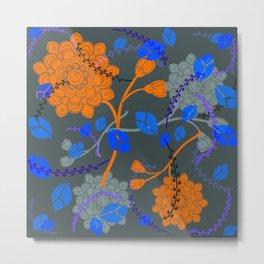 Flying Flowers in gray Metal Print