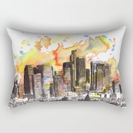 Los Angeles Cityscape Skyline Painting Rectangular Pillow