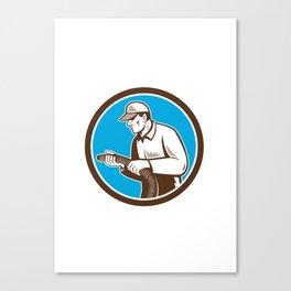 Home Insulation Technician Retro Circle Canvas Print