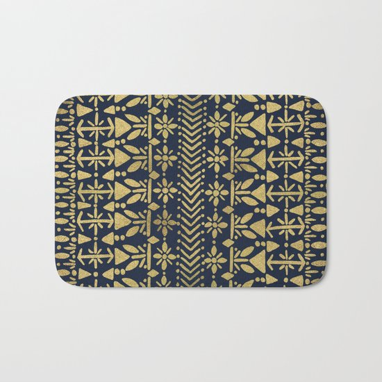 Norwegian Pattern – Gold on Navy Bath Mat
